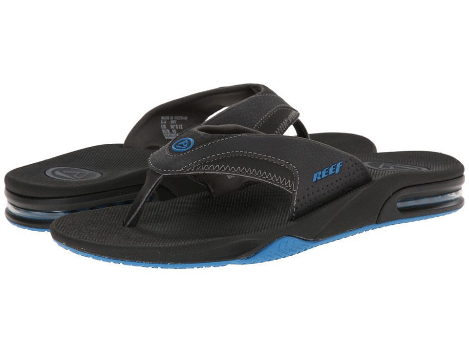 Reef - Fanning (Charcoal/Blue Pop) Men's Sandals
