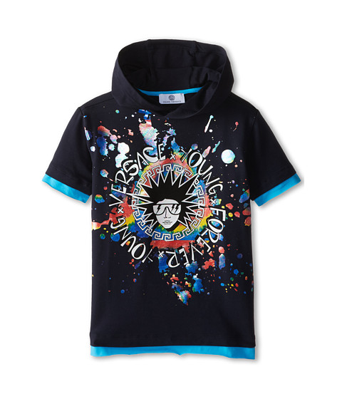 Versace Kids - S/S Hooded Tee w/ Punk Medusa and Paint Splat (Big Kids) (Navy) Boy
