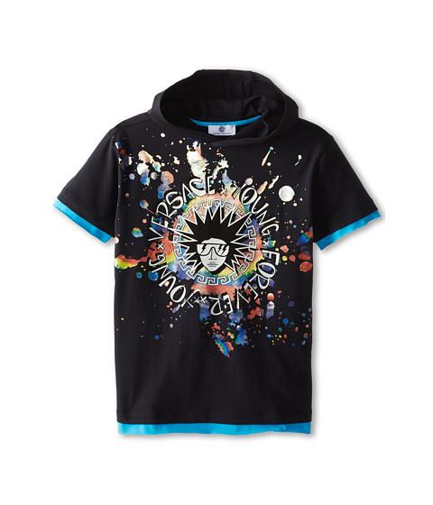 Versace Kids - S/S Hooded Tee w/ Punk Medusa and Paint Splat (Big Kids) (Navy) Boy's T Shirt