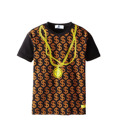 Versace Kids - S/S Tee w/ $$$$$$ and Chain Necklace Print (Big Kids) (Black) Boy's T Shirt