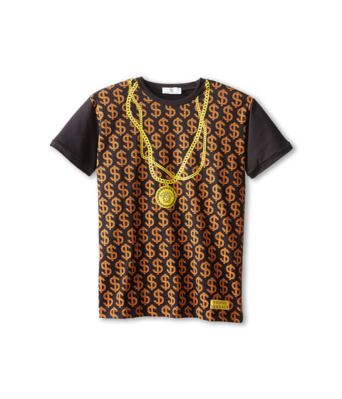 Versace Kids - S/S Tee w/ $$$$$$ and Chain Necklace Print (Big Kids) (Black) Boy