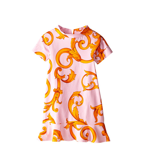 Versace Kids - S/S Dress w/ Contrast Color Print (Big Kids) (Pink/Orange) Girl