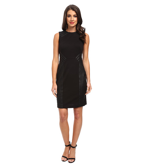 Calvin Klein - Dress w/ Faux Leather Detailing (Black) Women