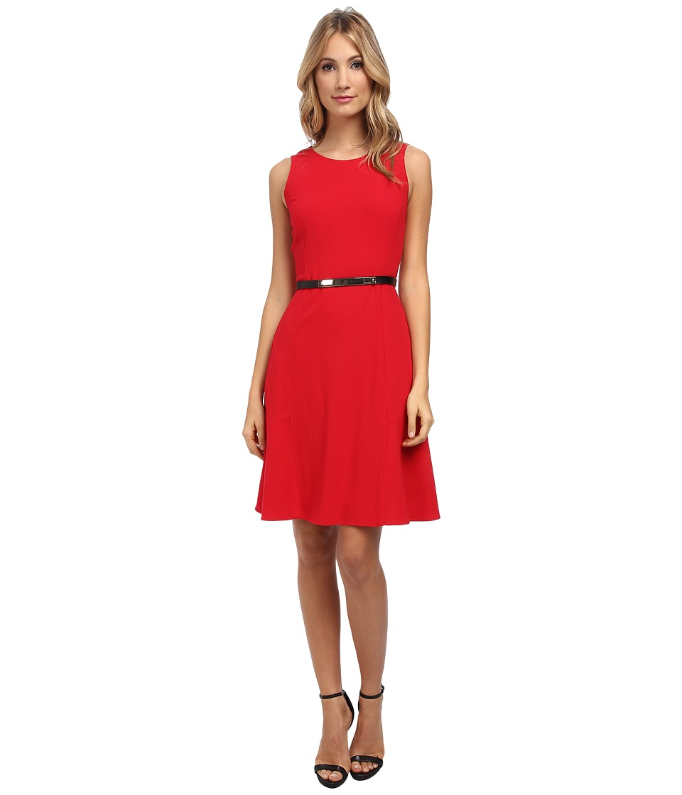 Calvin Klein - Flared Dress (Rouge) Women's Dress