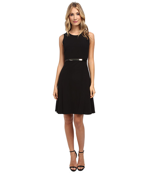 Calvin Klein - Flared Dress (Black) Women's Dress
