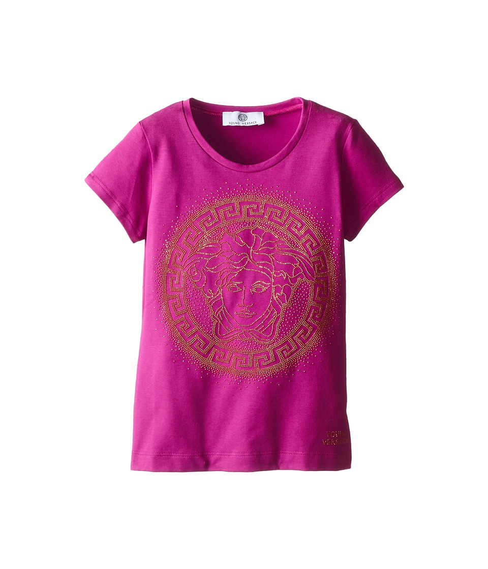 Versace Kids - S/S Medusa Logo Tee In Contrast Color (Big Kids) (Fuchsia) Girl