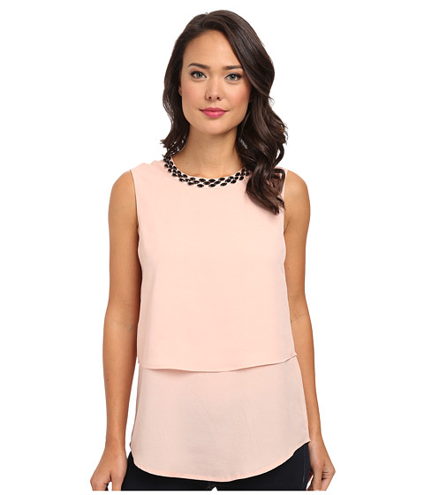 Calvin Klein - Double Layer Top w/ Beads (Blush) Women