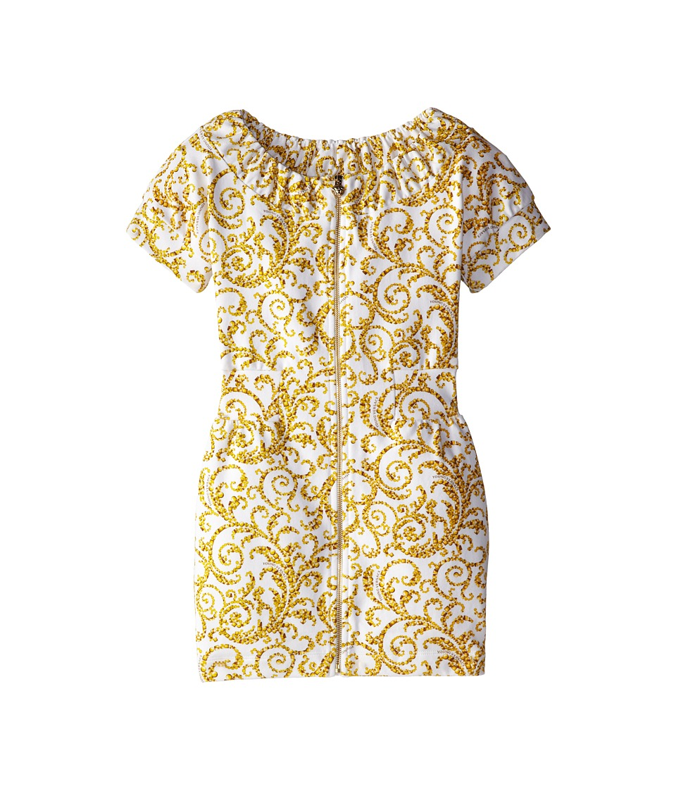 Versace Kids - S/S Dress w/ All Over Barocco Print (Big Kids) (Gold Print) Girl