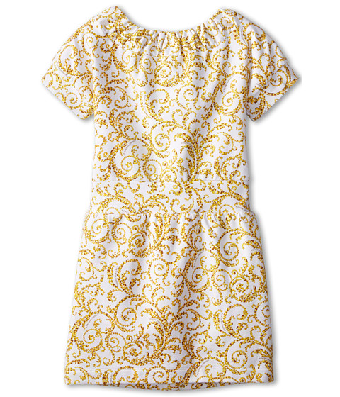 Versace Kids - S/S Dress w/ All Over Barocco Print (Big Kids) (Gold Print) Girl