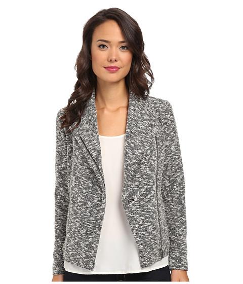 Calvin Klein - Slub Jaquard Moto Jacket (Black/Birch) Women's Jacket