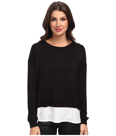 Calvin Klein - L/S Top w/ Crepe De Chine Bottom (Black) Women's Clothing