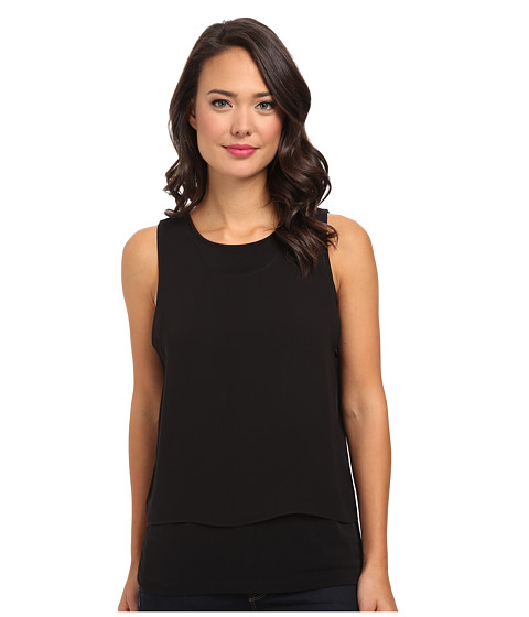 Calvin Klein - Sleeveless Top w/ Draped Chiffon (Black) Women's Sleeveless