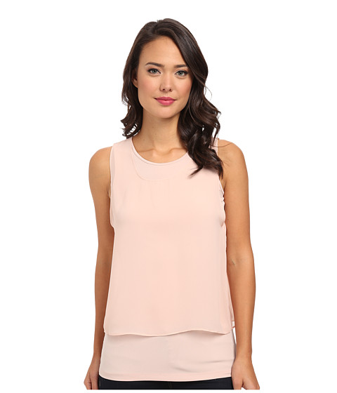 Calvin Klein - Sleeveless Top w/ Draped Chiffon (Blush) Women's Sleeveless