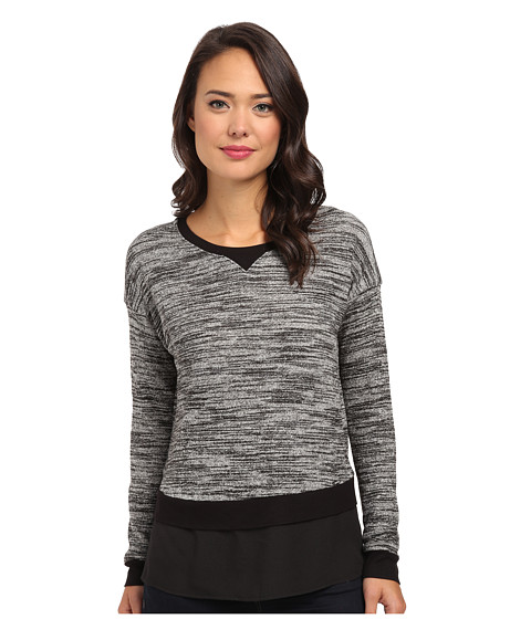 Calvin Klein - Long Sleeve Knit w/ Crepe De Chine Bottom (Birch/Black) Women