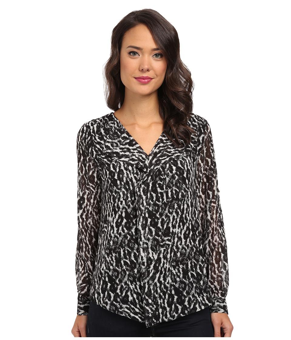Calvin Klein - Long Sleeve Ruffle Front Top (Birch Combo 2) Women's Blouse