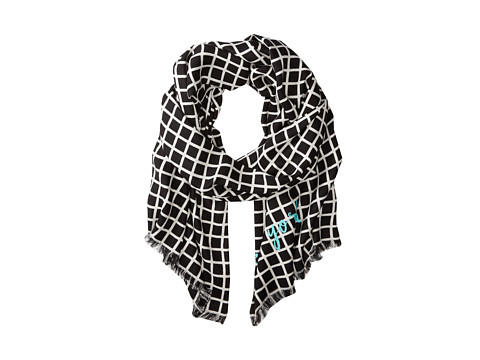 Kate Spade New York - Color Block Plaid Scarf (Cream/Black) Scarves