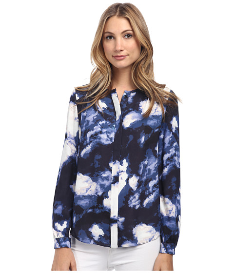 Kate Spade New York - Dusk Clouds Crepe Blouse (Blue Dusk) Women
