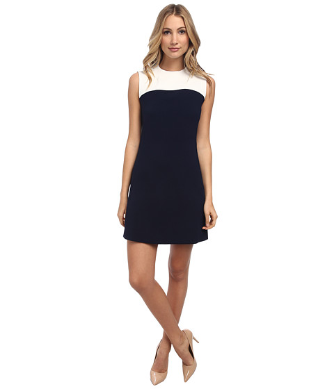 Kate Spade New York - Funnel Neck Sponge Crepe Dress (Cream/Rich Navy) Women