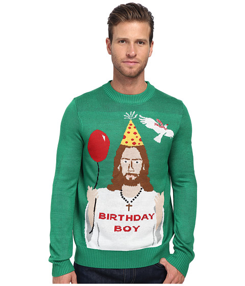 tipsy elves - Happy Birthday Jesus Ugly Christmas Sweater (Green) Men's Sweater