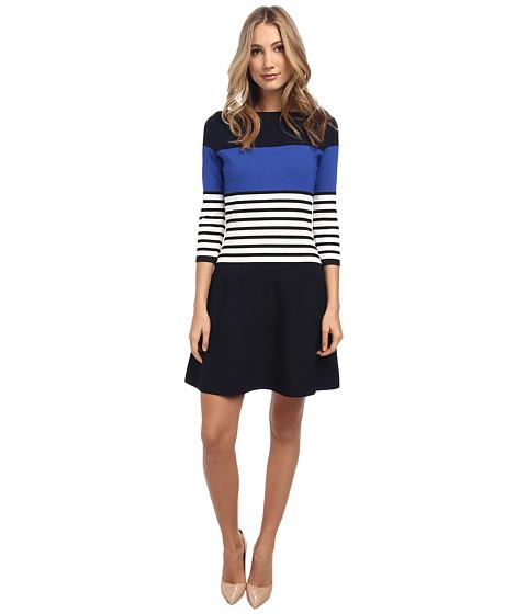 Kate Spade New York - Striped Scuba Dress (Rich Navy Multi) Women