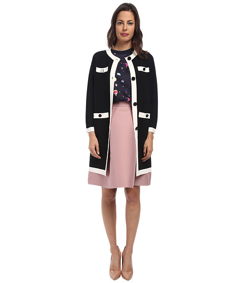 Kate Spade New York - Color Block Scuba Coat (Black/Cream) Women's Coat