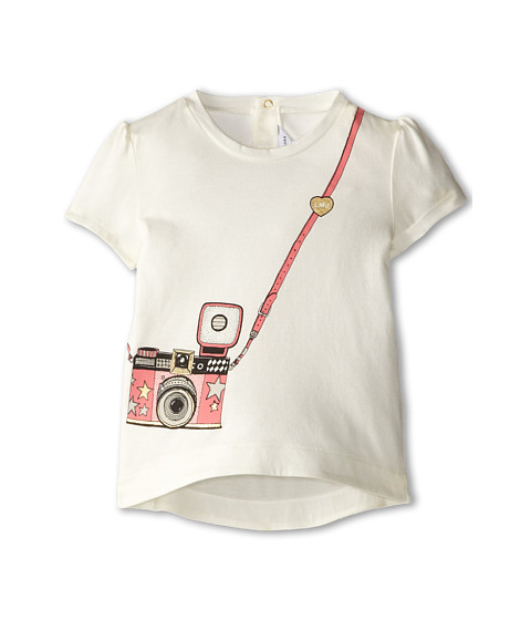 Little Marc Jacobs - Printed Hi Lo Hem S/S Tee (Infant) (Off White) Girl's Short Sleeve Pullover