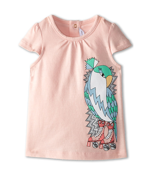 Little Marc Jacobs - Parrot Print Cap Sleeve Tee (Infant) (Light Pink) Girl's Short Sleeve Pullover
