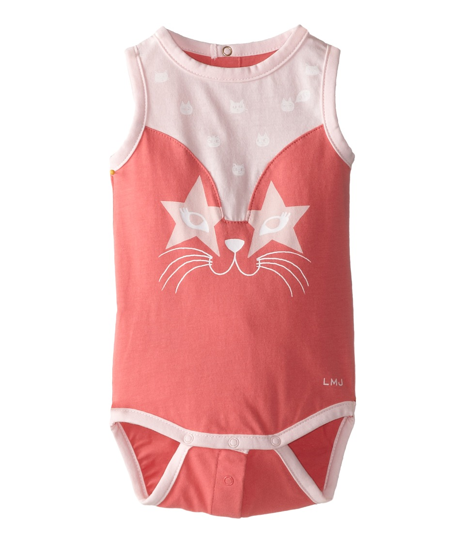 Little Marc Jacobs - Jersey Cat Face Bodysuit (Infant) (Rose) Girl's Jumpsuit & Rompers One Piece