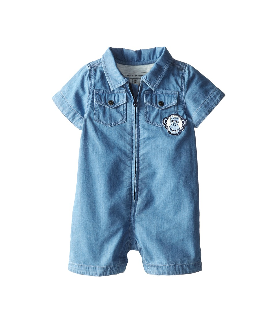 Little Marc Jacobs - Chambray Shortalls (Infant) (Denim Blue) Boy's Overalls One Piece