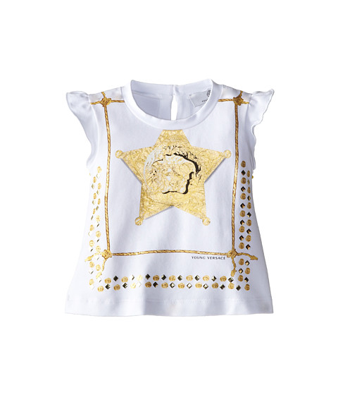 Versace Kids - Flutter Sleeve Tee w/ Medusa Star Badge (Infant) (White) Girl's T Shirt
