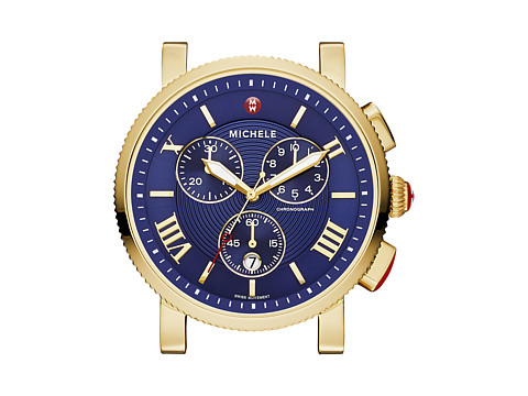 Michele - Sport Sail Large Gold, Navy Dial Watch Head (Gold) Watches
