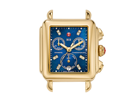 Michele - Deco Gold, Blue Diamond Dial (Gold) Watches