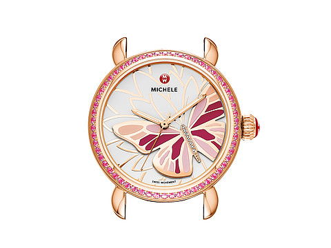 Michele - Garden Party Topaz Rose Gold Pink, Diamond Butterfly Watch Head (Pink Topaz) Watches