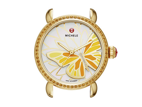 Michele - Garden Party Topaz Gold Yellow, Diamond Butterfly Watch Head (Yellow Topaz) Watches