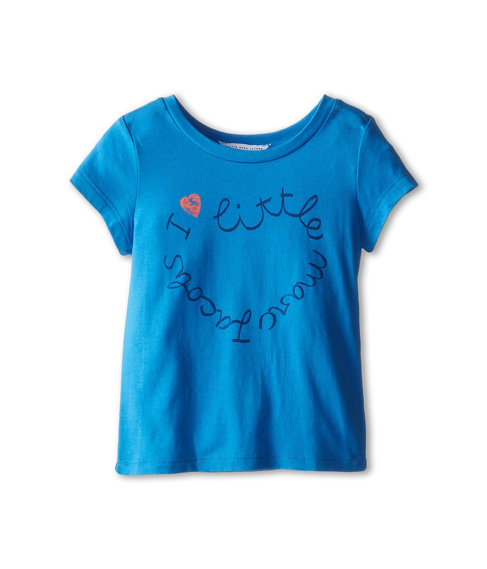 Little Marc Jacobs - Short Sleeve Printed Logo Tee Shirt (Toddler/Little Kid) (Blue Logo) Girl's Short Sleeve Pullover