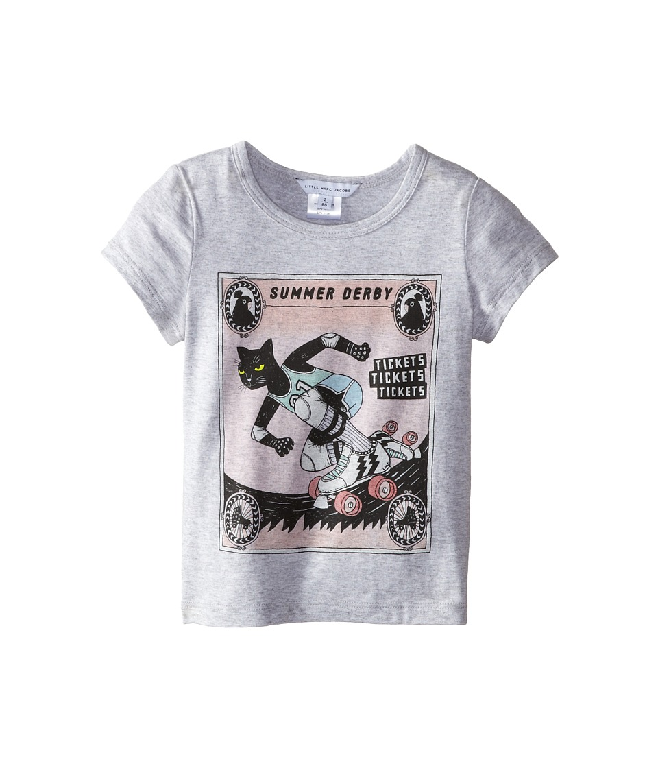 Little Marc Jacobs - Roller Printed Tee Shirt (Toddler/Little Kid) (Grey) Girl's Short Sleeve Pullover