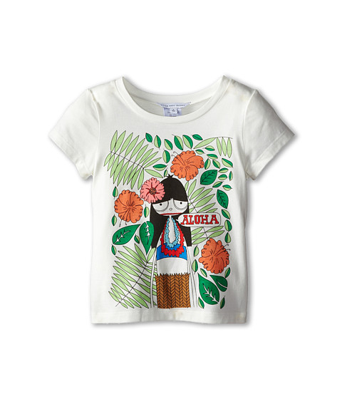Little Marc Jacobs - Miss Aloha Printed Tee Shirt (Toddler/Little Kid) (Off White) Girl's Short Sleeve Pullover