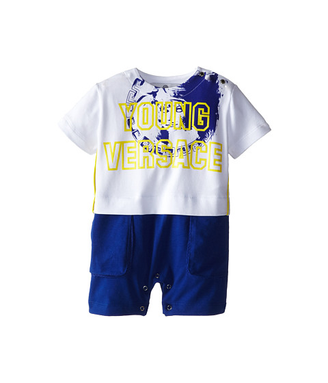 Versace Kids - Faux Two-Piece Romper w/ Logo Print (Infant) (White/Blue) Boy's Active Sets