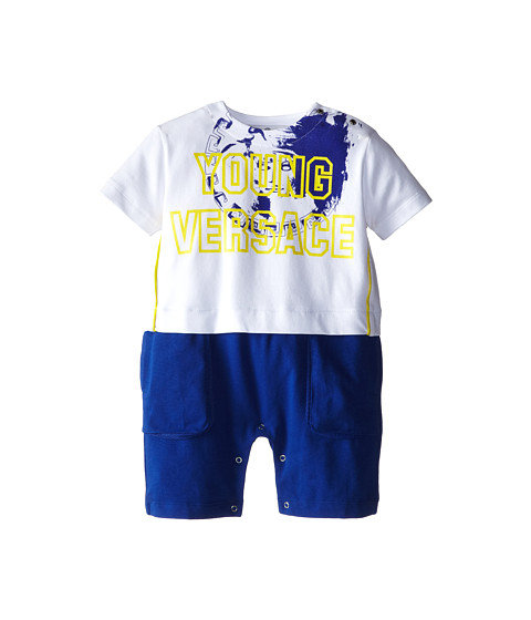 Versace Kids - Faux Two-Piece Romper w/ Logo Print (Infant) (White/Blue) Boy's Jumpsuit & Rompers One Piece