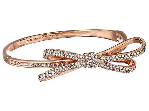 Kate Spade New York - Tied Up Pave Hinge Bangle (Clear/Rose Gold) Bracelet