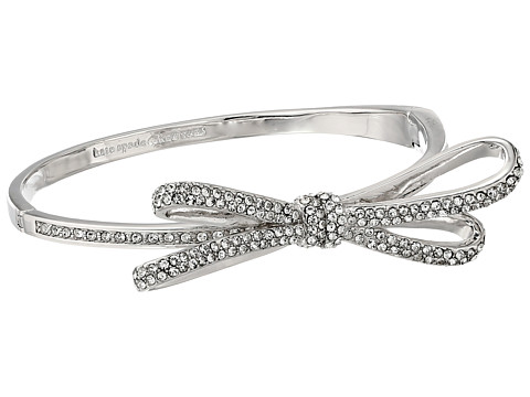 Kate Spade New York - Tied Up Pave Hinge Bangle (Clear/Silver) Bracelet