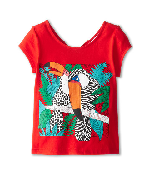 Little Marc Jacobs - Parrot Print Tee with Keyhole Back (Toddler/Little Kid) (Chile Red) Girl's Short Sleeve Pullover