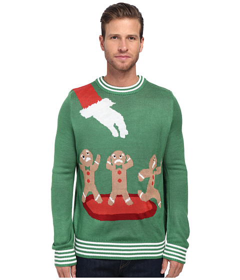 tipsy elves - Gingerbread Nightmare Ugly Christmas Sweater (Green) Men's Sweater