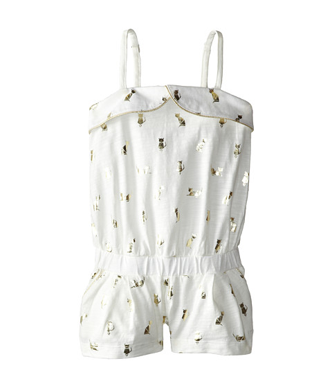 Little Marc Jacobs - Slub Jersey Foil Print Romper (Toddler/Little Kid) (Ecru Rose) Girl's Jumpsuit & Rompers One Piece