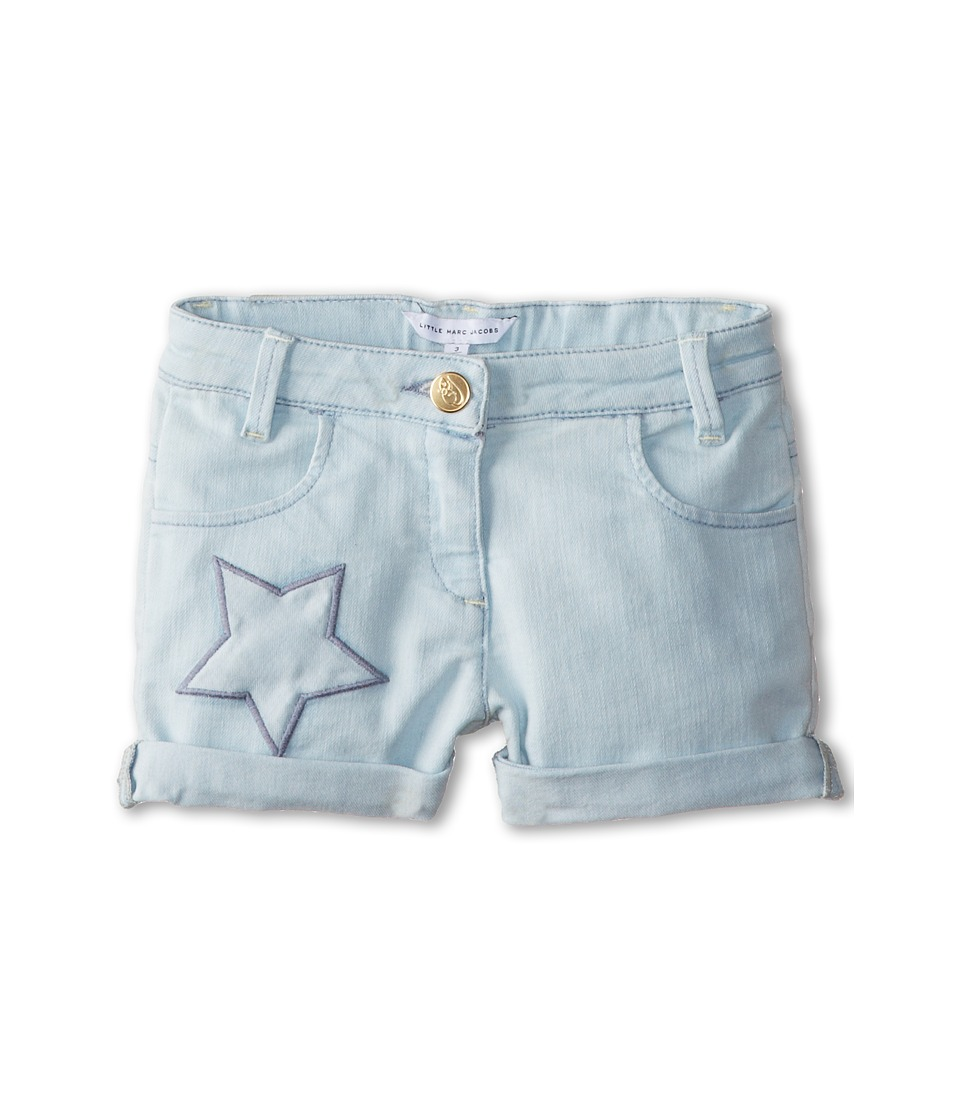 Little Marc Jacobs - Star Embroidered Denim Shorts (Toddler/Little Kid) (Bleach) Girl