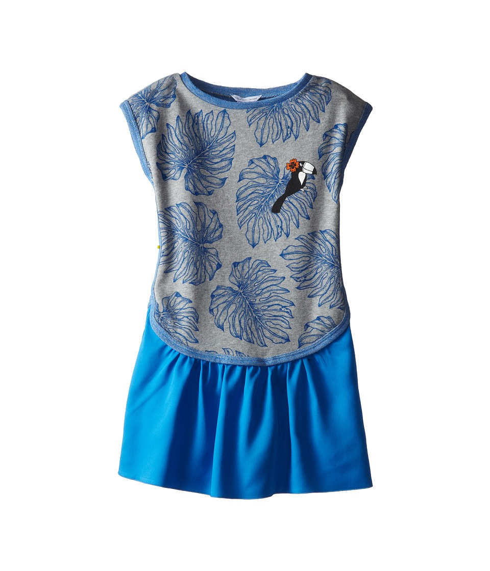 Little Marc Jacobs - Printed Fleece Dress with Woven Bottom (Little Kid/Big Kid) (Grey Blue) Girl