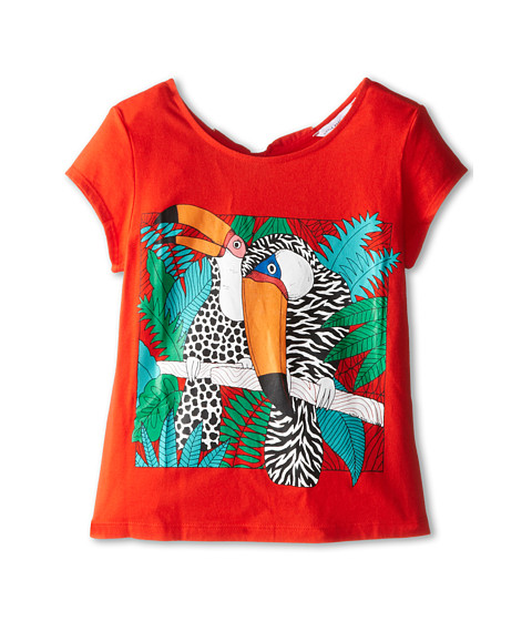 Little Marc Jacobs - Parrot Print Tee with Keyhole Back (Little Kid/Big Kid) (Chile Red) Girl