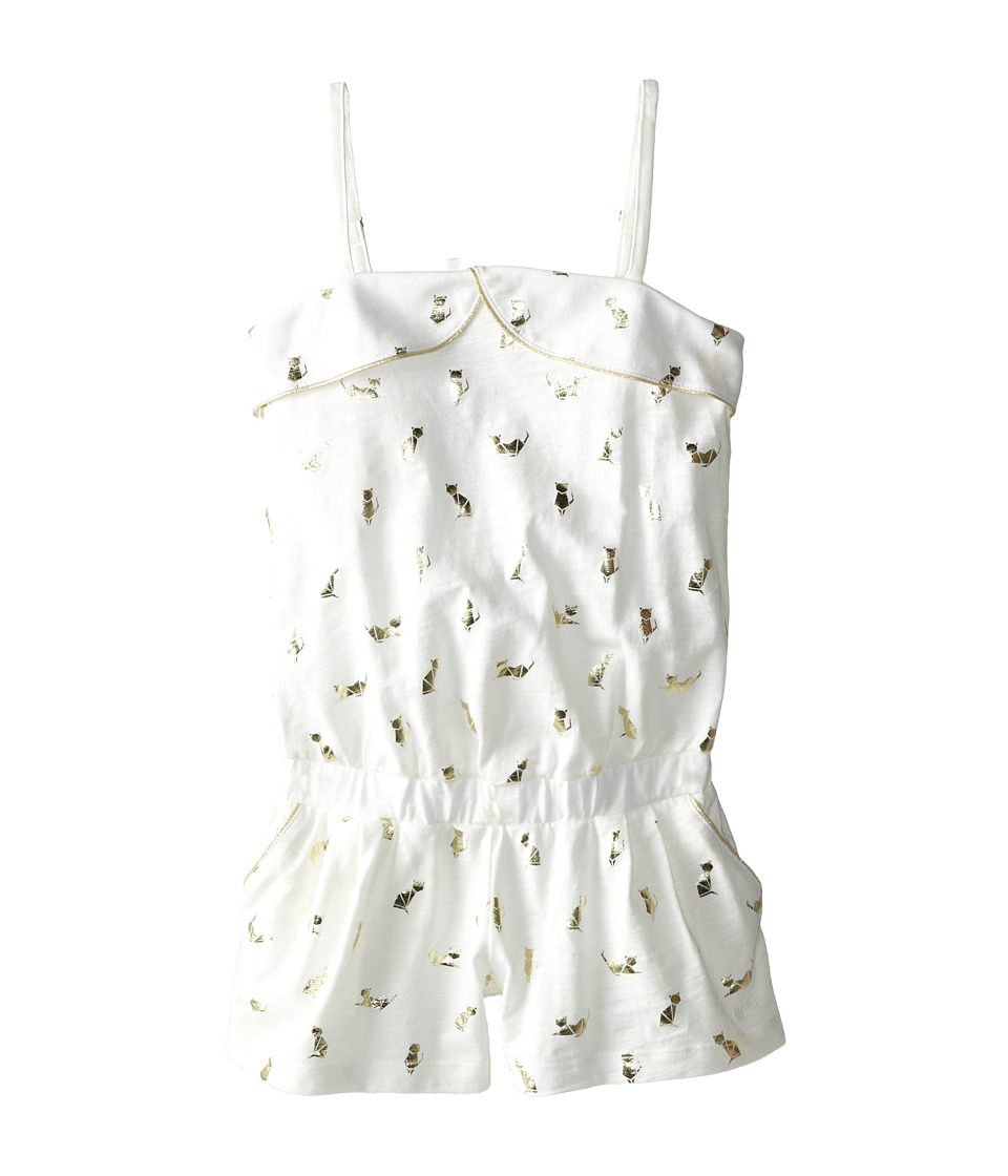 Little Marc Jacobs - Slub Jersey Foil Print Romper (Little Kid/Big Kid) (Ecru Rose) Girl's Jumpsuit & Rompers One Piece