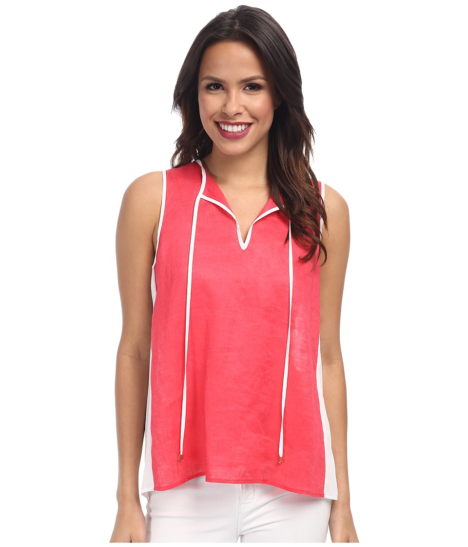 Calvin Klein - Hi-Lo Mixed Linen Top (Watermelon (Pink)) Women's Sleeveless