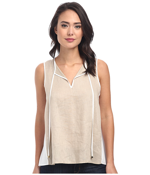 Calvin Klein - Hi-Lo Mixed Linen Top (Latte) Women's Sleeveless